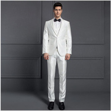mens three piece white wedding suits for men