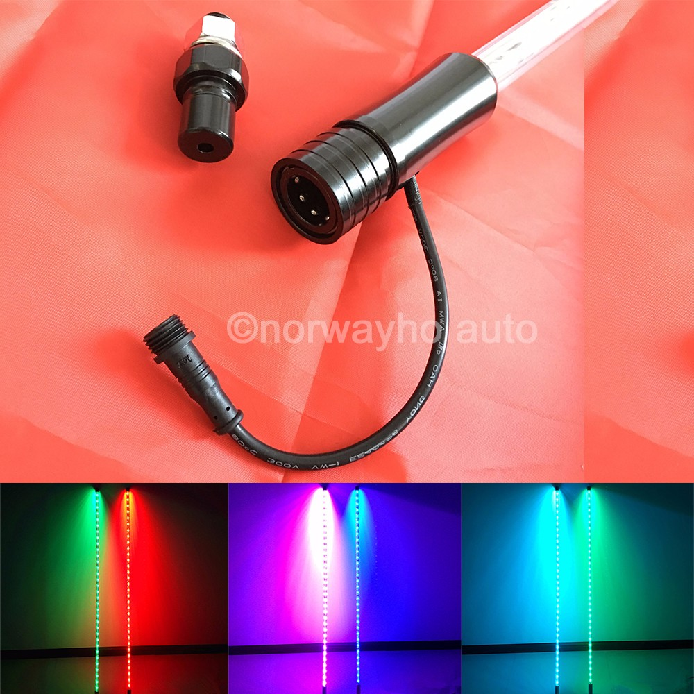 6 foot color changing LED whip with wireless remote complete with quick release and inline fuse