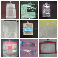 Hot sale custom clear PVC food packaging bags with hanger