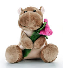 OEM valentine brown plush hippo/stuffed hippo for baby gift