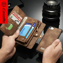 two mobile phones leather case For iPhone 8 , resistant for iphone 6 wallet case