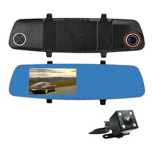Dual lens Wifi rearview mirror camera with usb2.0 interface car dvr dash cam