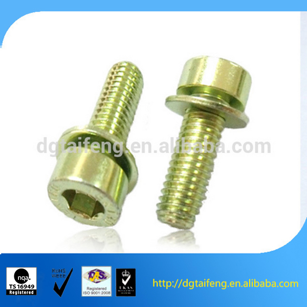 Yellow zinc decorative screws and nuts with washer