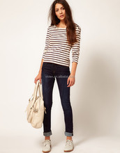 Long Sleeve Elastic Cotton Casual Fashion Women Oldspice Stripe Jersey Top with Button Shoulder Detail