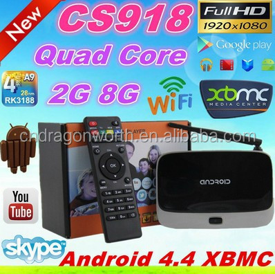 2016 Hot Selling free samples with free shipping CS918 Mali 400 2g 8g BT4.0 4K android set top box