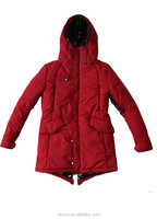2015 women's hooded red polyester peach skin winter warm cotton wadded jacket coat