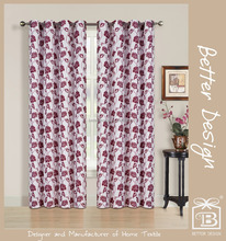 Luxury Hot Selling Cheap Faux Linen Polyester Printing Window Curtain With 8 Eyelets/Rings/Gromemts