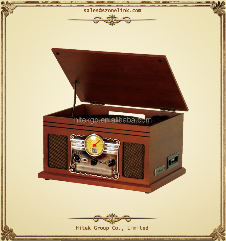Nostalgic classic 5-In-1 retro solid wood music center top quality multiple record player