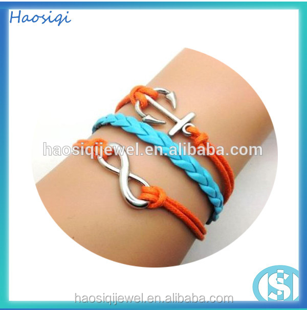 leather rope bracelet infinity charm bracelet for sex women and men