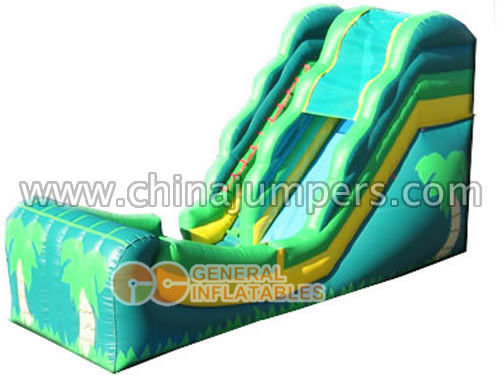 Inflatable palm tree water slide for sale; single lane water slide