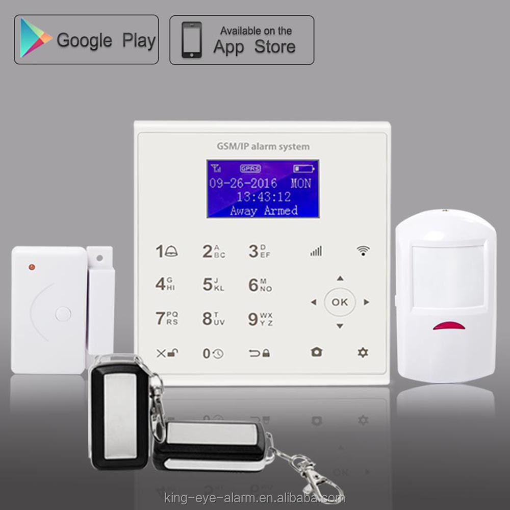 LCD APP push+call alarm+SMS alarm anti-jamming house alarm system 2016 wireless with camera