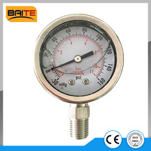 "2"" Vacuum pressure gauge 1/4NPT stainless steel connection -30Hg/160psi"