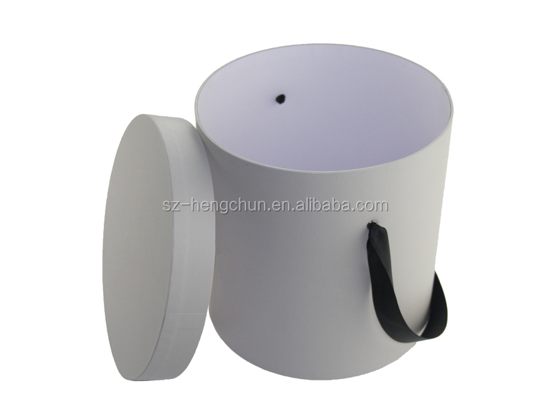 High quality round rigid cardboard flower box with ribbon supplier