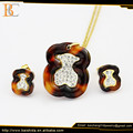 Wholesale Jewelry Charms Crystal Rhinestone Necklaces And Earring For Acrylic Bear