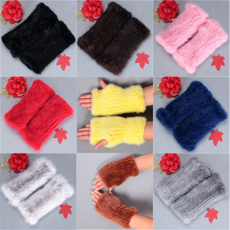 Fashion plush cuty winter warm real mink fur gloves mittens of lady
