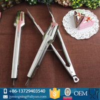 Factory Offer 9inch Useful Multifunction Stainless Steel Food Tongs Cooking Clip Home Kitchen Tools Bread Clamp