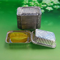 7.5 inch rectangle aluminium foil food tray box food container with lid bulk production