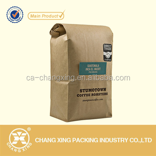 Printing Brown Kraft/craft paper square bottom valve coffee bag
