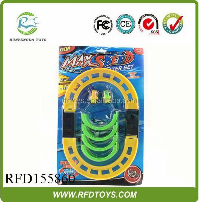 New plastic back rotating rail car toy track car funny exciting playing sense child toy car