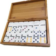 Ivory Tiles Double 6 Colored Dominoes <strong>Game</strong> By Tangerine With Bamboo Travel Box