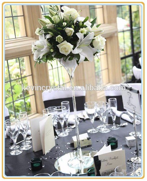 Tall Stemmed Martini Vase Decoration For Wedding Table Centerpiece