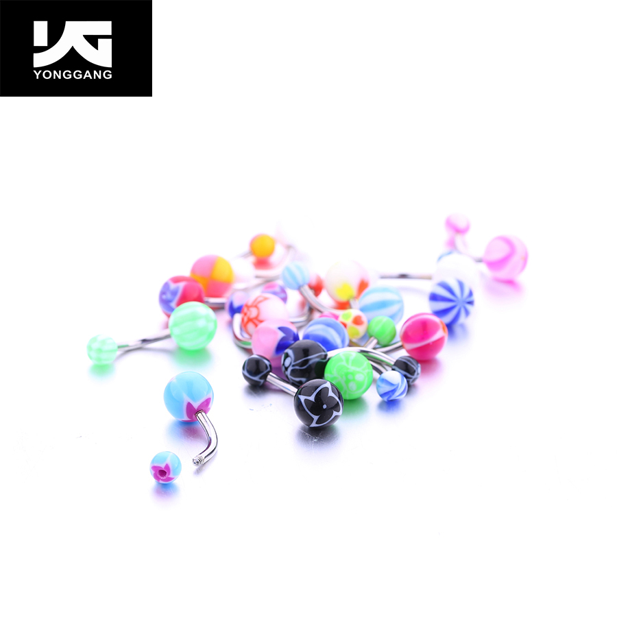 316L Surgical Steel Special Printing Ball Intimate Belly Piercing,Exotic Body Jewellery UV Acrylic Navel Ring Big Sale