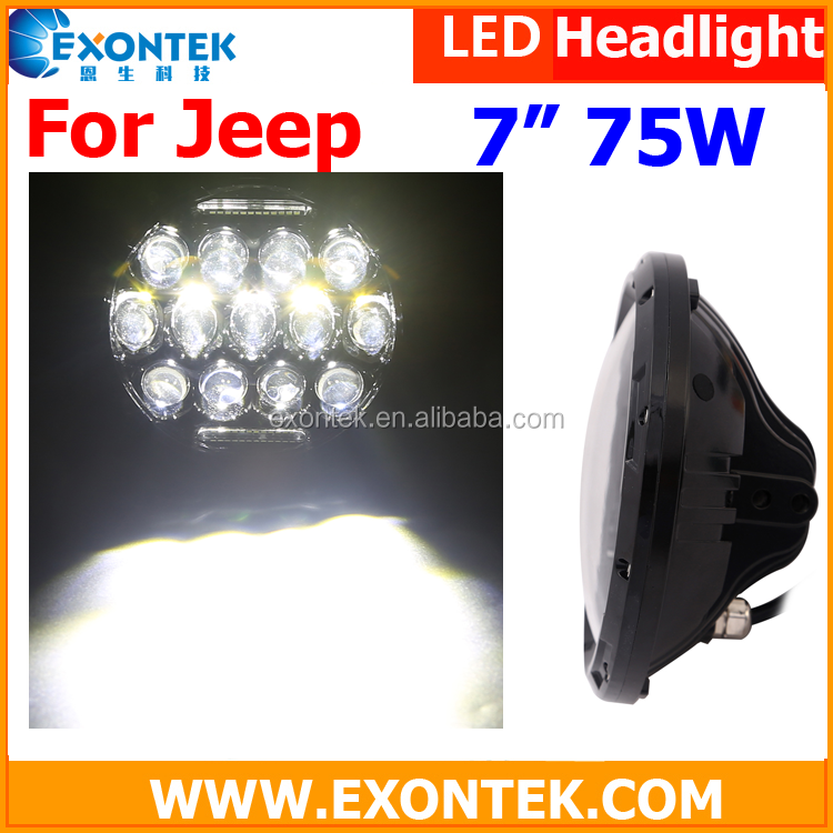 China supplier led bulb 75W/led the lamp healight for Jeep Wrangler waterproof long lifespan