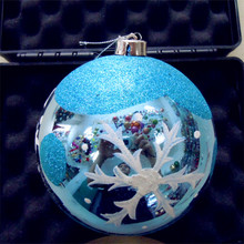Coloured drawing electro plating xmas ball Snow flake plastic ball