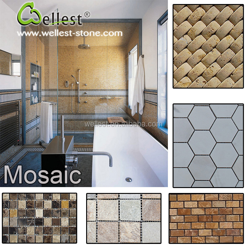 High Quality Natural Stone Polished Marble Bathroom Mosaic for Sale