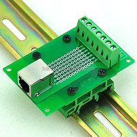 J11/RJ12 6P6C Interface Module with Simple DIN Rail Mounting foot,Right Angle Jack