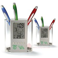 Pen Holder Digital Calendar,Electronic Calendar,Calendar Clock with LED Flash Light