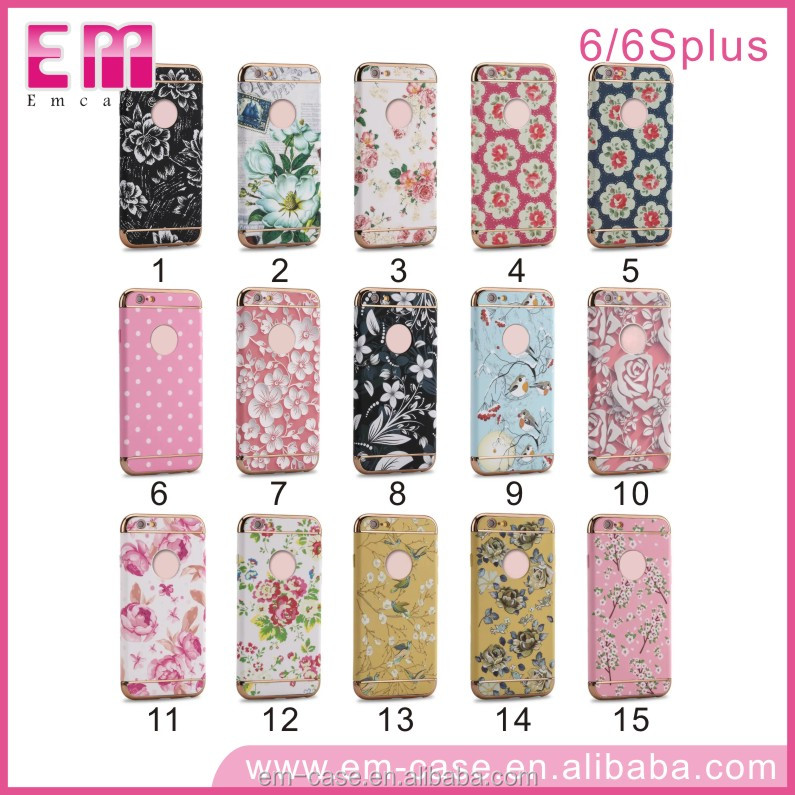 New design 3 in 1Flower Floral Printing Skin 3D Mobile Phone Case For iPhone 6/s