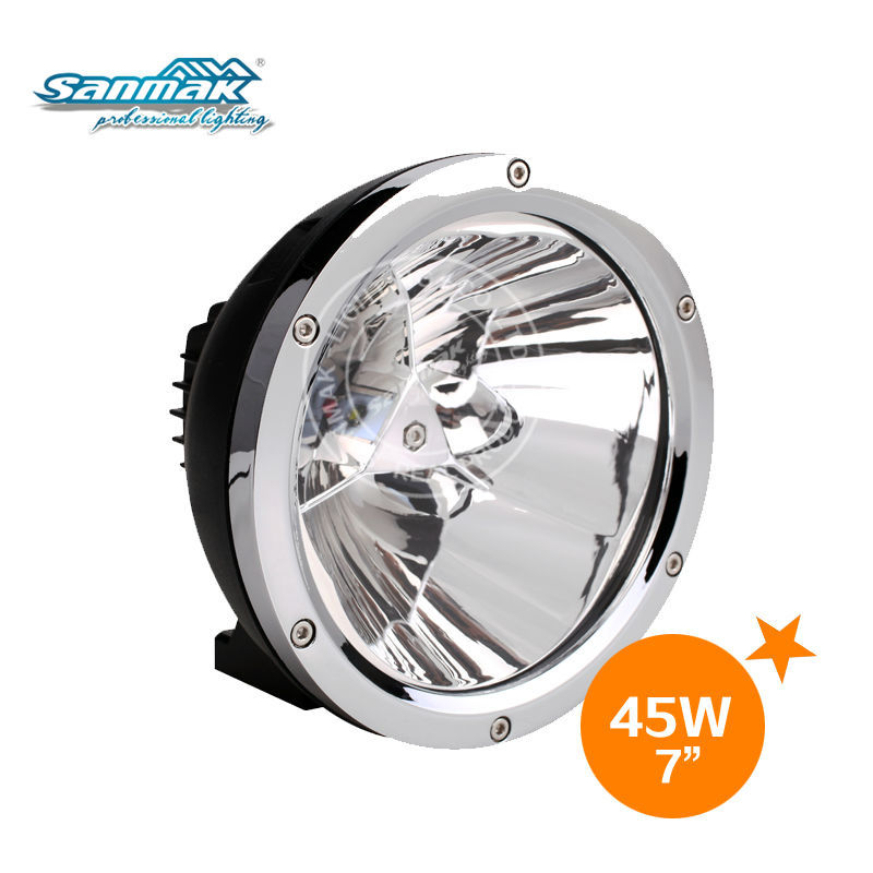 "Chrome black ring atv 4x4 vehicles round 7"" Cree 45W led driving spot light"
