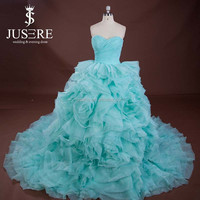 Luxury Long Train Lace Up Back Ball Gown Style Turquoise Green Wedding Dress With Ruffled Organza Bottom