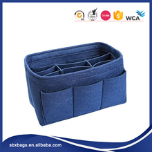 Navy Blue Felt Travel Makeup Bag Cosmetic Organizer bag with Removable Inserts organizer