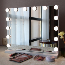 2019 Alibaba express hot product Hollywood vanity makeup led bathroom mirror with USB and dimmable 12pcs led bulbs