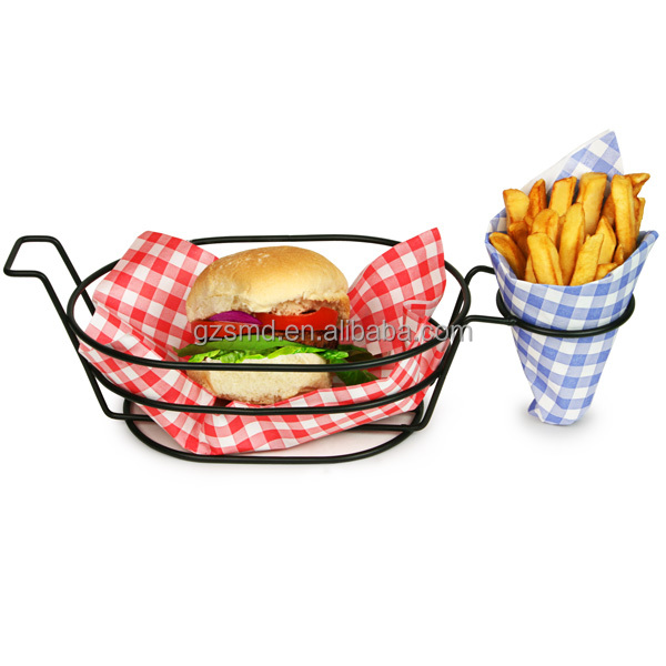 Black Metal Wire Fast Food Basket with Chip Cone Holder