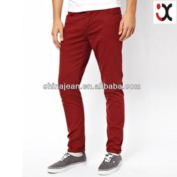 7b829f5e6 Pantalones vaqueros de color rojo para hombre al por mayor de color skinny jeans  para hombres