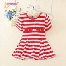 Cotton strip navy design summer china wholesale clothing for the children good material kid dress boutique with good price