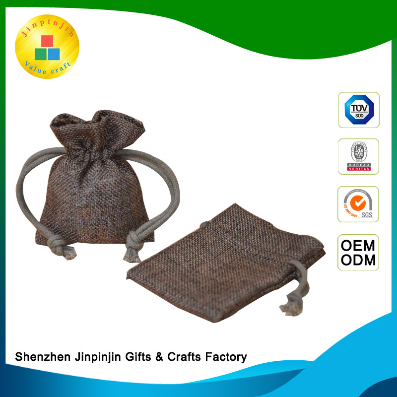 China factory supply mobile phone pouch jute burlap linen jewelry drawstring pouches soft cell phone pouch