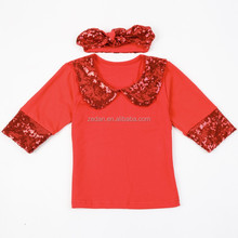 Sequins baby shirts with cute headband girl kids high quality T shirt