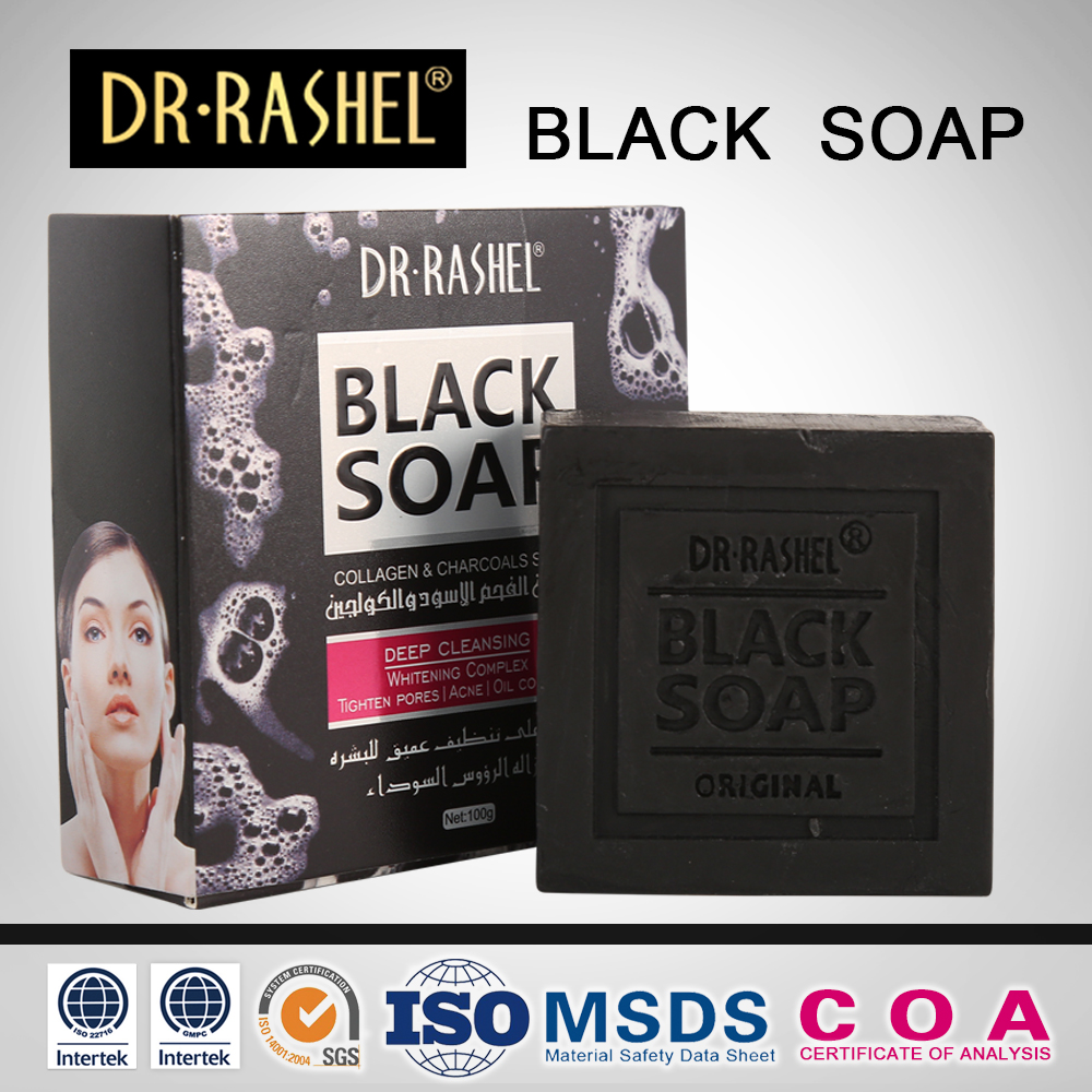 DR.RASHEL Collagen Charcoal Deep Cleansing Whitening Tighten Pore Face Soap Black Soap