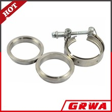 Universal stainless steel exhaust pipe muffler clamp V-band Clamp with Flanges Kit