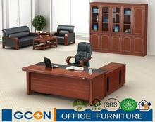modern rectangular walnut office executive desk