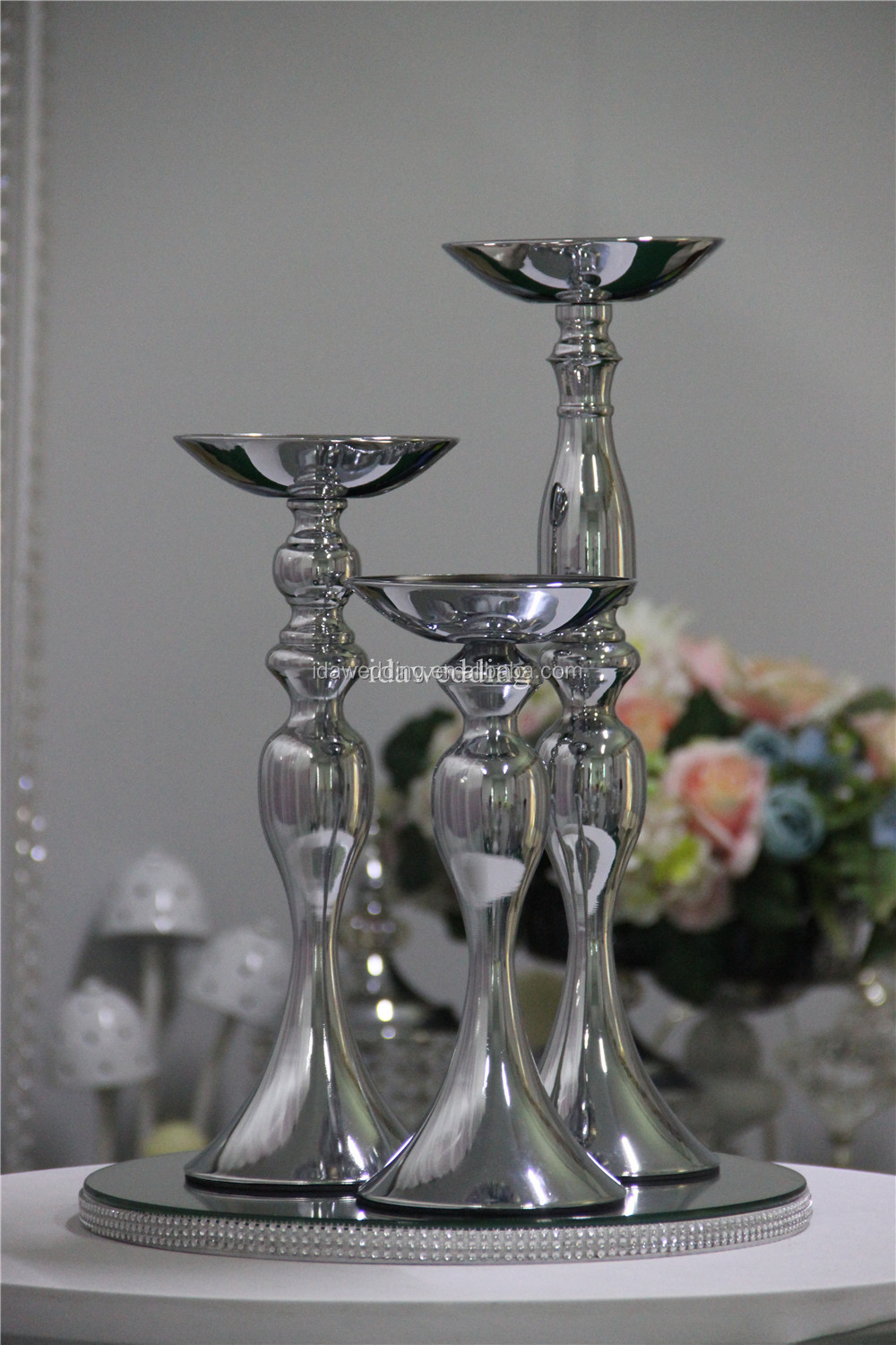 modern wedding flower vase centerpiece chrome