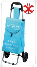 Metal folding shopping cart/Supermarket shopping cart bag with two wheels