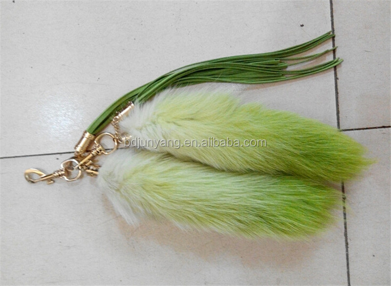 Fairy tail keychain real fur skin fur keychain pendant real fox fur tails wholesale
