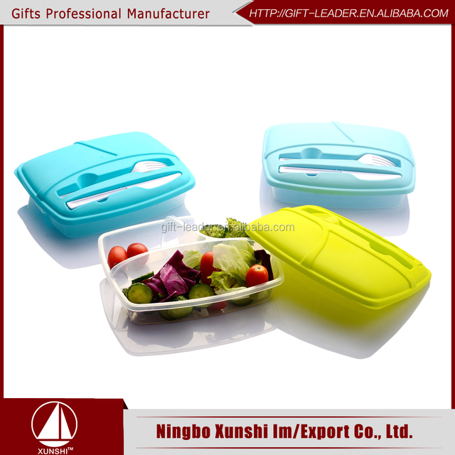 2017 Wholesale BPA free 3 compartment food containers plastic PP school lunch box