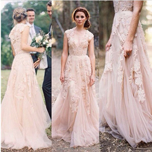 Sexy Collection Vestido de Novia Wedding Dresses Plus Size Lace Applique Tulle Blush Pink Bridal Gown 2017 Custom Made In China