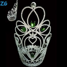 Fashion green crystal large pageant crowns, extract of crown of thorns, china jewelry factory jewelry tiara wedding